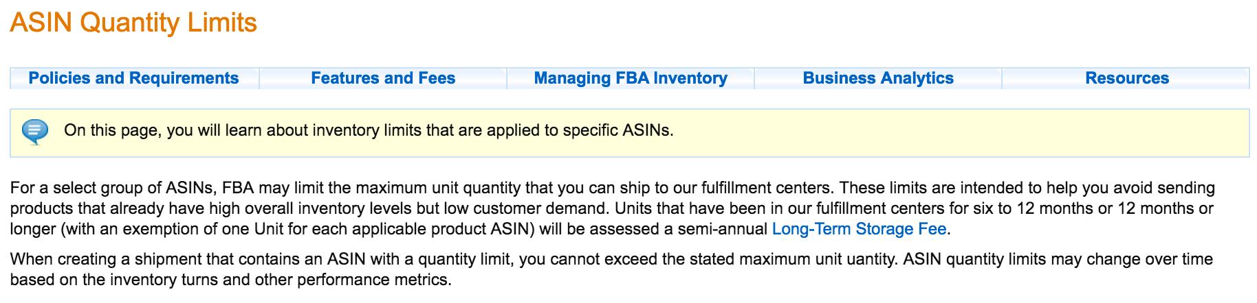 FBA limit