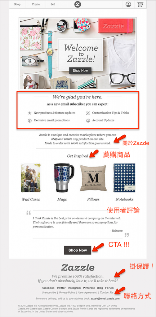 zazzle-Welcome email example
