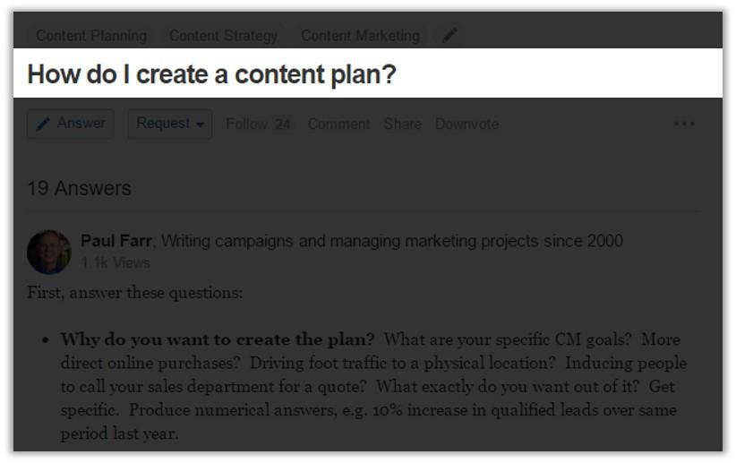 以How do I create a content plan 為例.