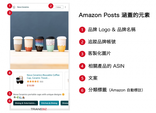Elements and layout of Amazon Post