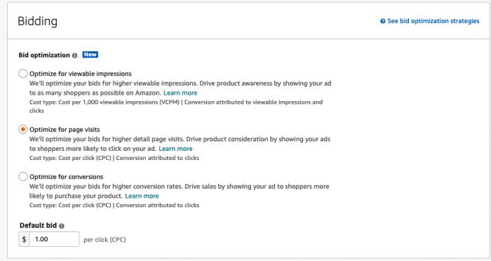 Amazon Sponsored Display ADs- Bidding
